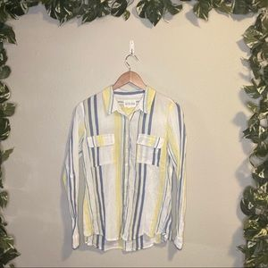 Olive + Oak Vertical Striped Casual Button Up Top